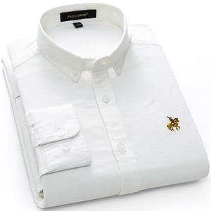 Image 4 - عادية القطن الخالص أكسفورد مخطط قمصان للرجال طويلة الأكمام التطريز شعار تصميم منتظم صالح موضة أنيقة بلوزة