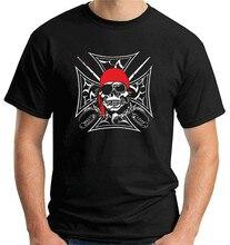 Camiseta maglietta moto motociclista teschio pirata croce tb0063 para a juventude camiseta de meia-idade