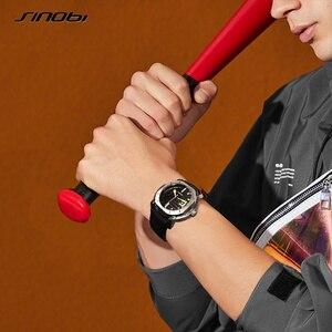 Image 4 - SINOBI High Quality Stainless Steel Mens Watches Hour Military Soft Silicone Strap Calendar Sport Waterproof Wrist Watch reloj
