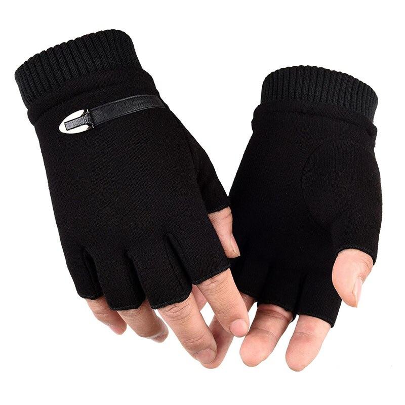 Зимние перчатки для мужчин, флисовые теплые перчатки с полупальцами, эластичные варежки без пальцев для мужчин, мужские перчатки для езды н...