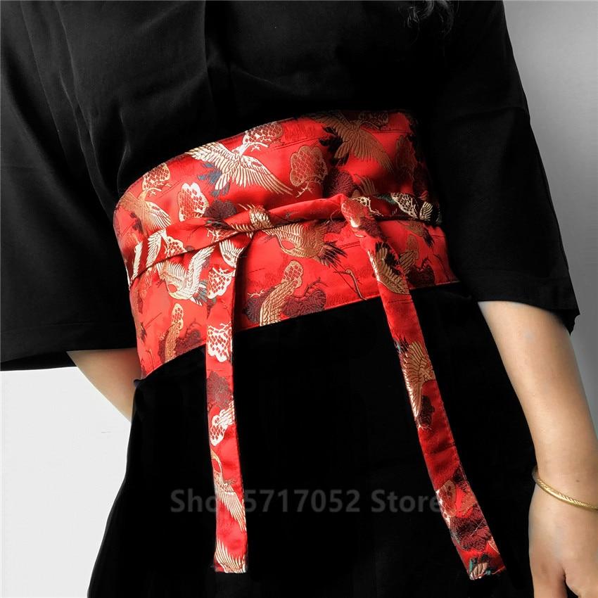 Japanese Embroidery Vintage Style Woman Kimono Belt Elastic Waist Cummerbunds Wide Belt Yukata Dress Crane Floral Haori Men Obi