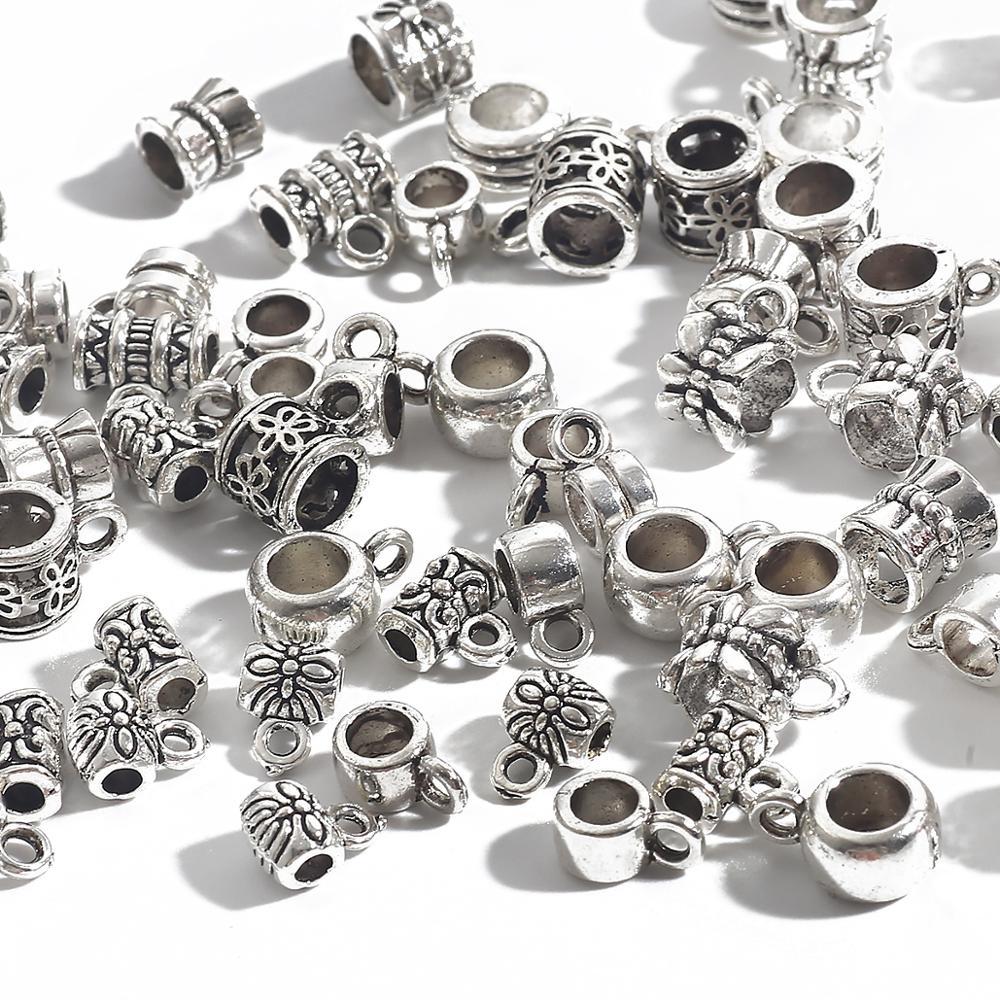 20-200 шт., посеребренные бусины-разделители для изготовления ювелирных украшений, шармов, браслетов, ожерелий