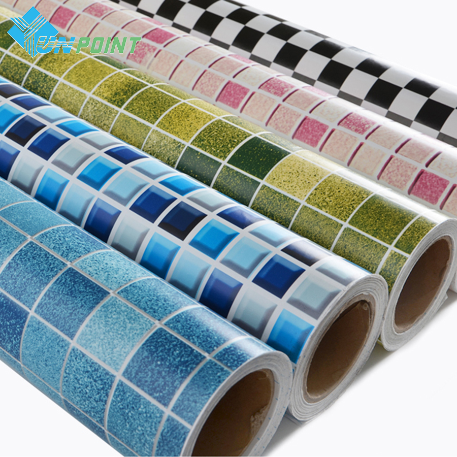 PVC Mosaic Tiles Wallpaper Bathroom Toilet Pool Waterproof Stickers Kitchen Oilproof Wall Stickers DIY Self-adhesive Home Decor