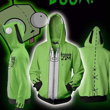 Anime Movie Invader Alien Zim Cosplay Printing Hoodie Sweatshirts Spring Autumn Men's Casual Zipper Cardigan Jacket