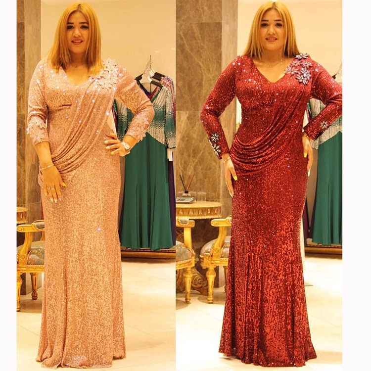 fascinating African lades Elastic beads Sequins long dresses Sexy  v-neck Dinner party sequins dresses African dresses for women thumbnail