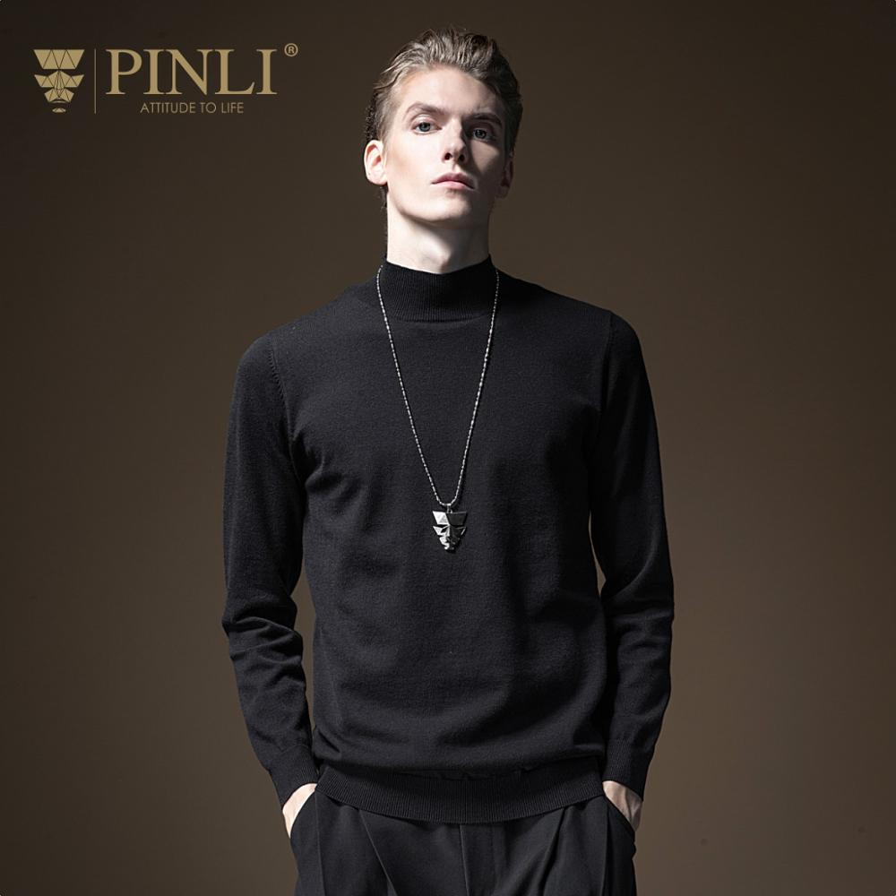 Agasalho Masculino Rushed None Long Mens Pinli Fall 2019 New Men's Half-high-collar Slim Knitted Sweater Pullover B193310374