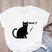 Женская обувь Новинка рисунок с котом Футболка 100% хлопок футболки