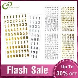 Crafts Bronzing Stickers Silver/Gold DIY Scrapbook Digital letter Alphabet number decorative sticker Toys GYH