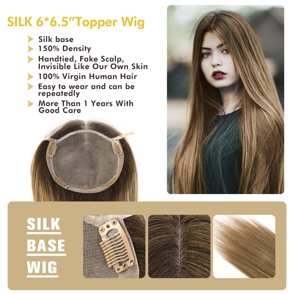 MW Silk Base Top Hair Pieces For Women Straight Remy Natural Human Hair Topper Wigs 16
