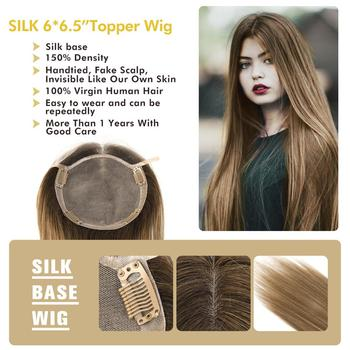 MW Silk Base Top Hair Pieces For Women Straight Remy Natural Human Hair Topper Wigs 16 20 6*6.5 150% Density T4/6/8/613 Color mw pu mono net base men toupee wig remy human hair pieces natural black 6 inches 130% density topper wigs fedex fast delivery