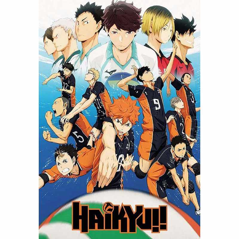 2020 Hot Japan Anime Haikyuu!! Volleyball Junge Cartoon Silk Poster Modulare Malerei Anime Poster Wand Dekoration