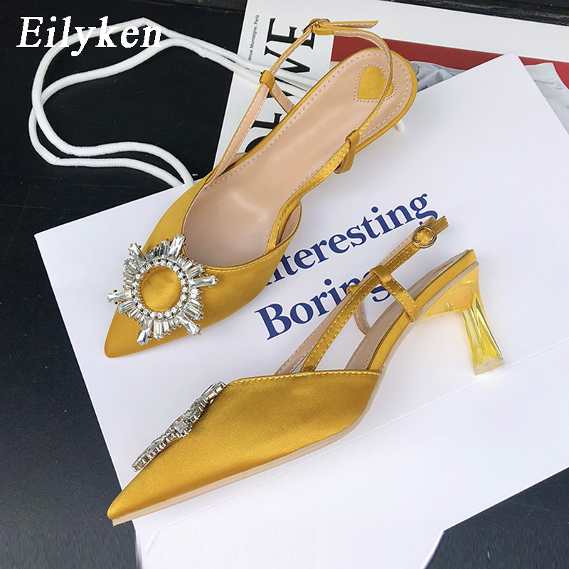 Eilyken 2020 New High Quality Designers Sexy Crystal Perspex Heels Ladies Pumps Mules Low Heels Elegant Pointed Toe Women Pumps