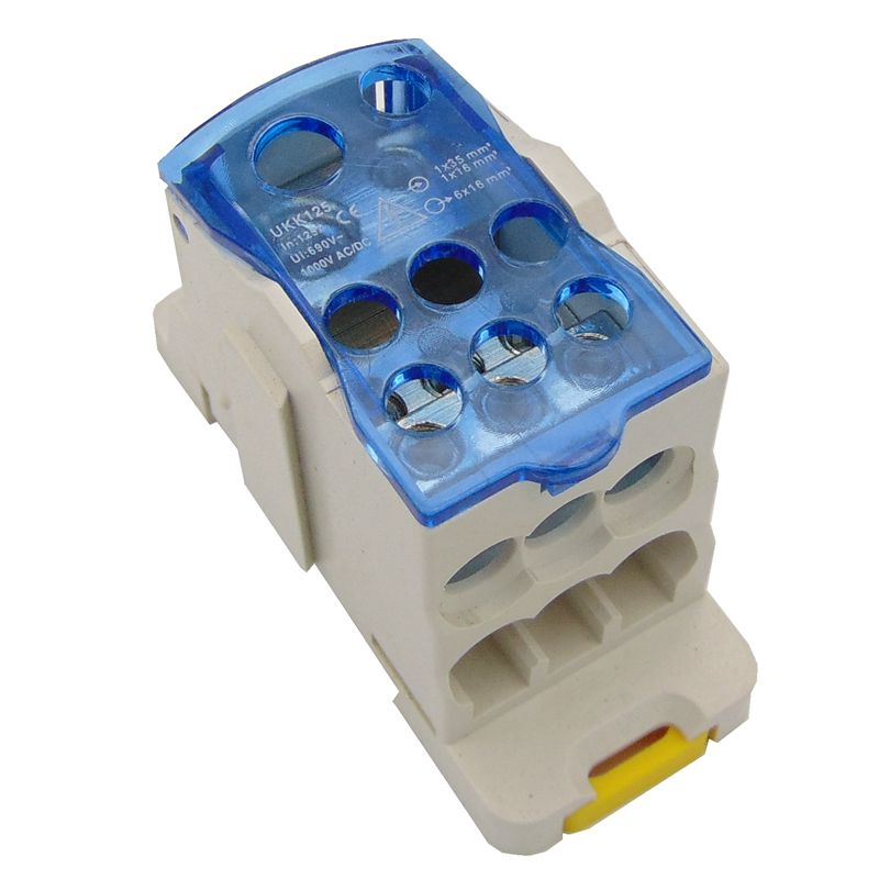 UKK125 Din Rail 2 in N Out Terminal Block Distribution Box Universal Power Junction Box Electric Wire Connector gangbei image