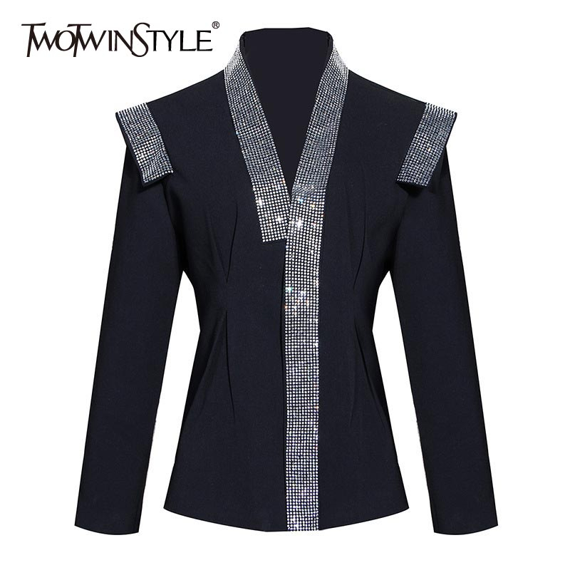TWOTWINSTYLE Patchwork Diamonds Women's Blazers V Neck Long Sleeve Tunic Hit Color Suits For Female Fashion 2020 Clothing Tide