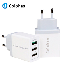 Colohas QC 3.0 Quick Charger 3 USB Ports Travel Wall For iPhone X 8 iPad Samsung S8 Note HTC LG QC3.0 EU Plug Chargers