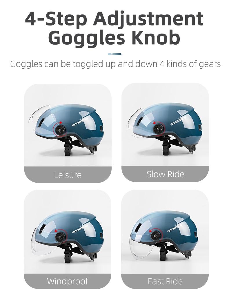 ROCKBROS Electric Bicycle Helmet Men Women MTB Road Bike EPS Helmet With Goggles Motercycle Safety Integrally-molded Helmet