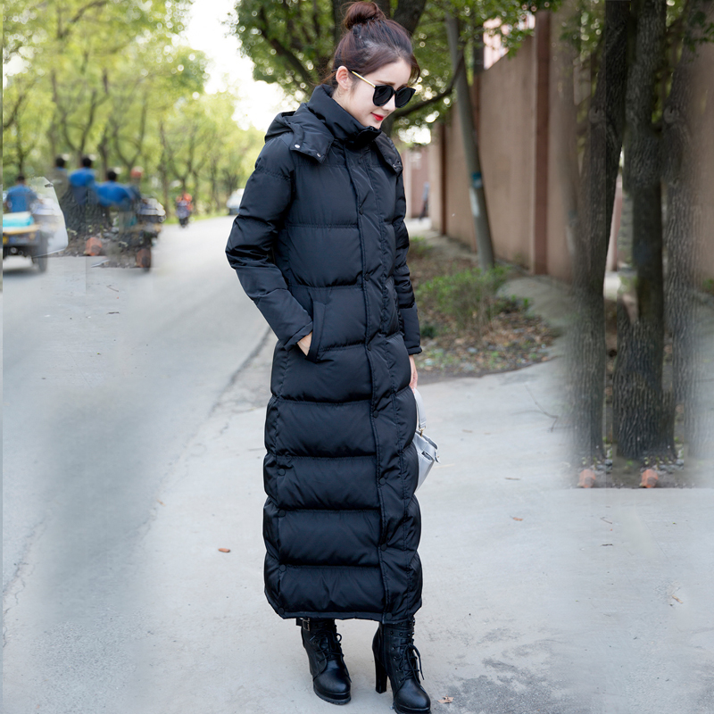 High Quality White Duck Down Winter Women Jacket New Thick Long Hooded Feather Women Overcoat Plus Size 2XL LX809