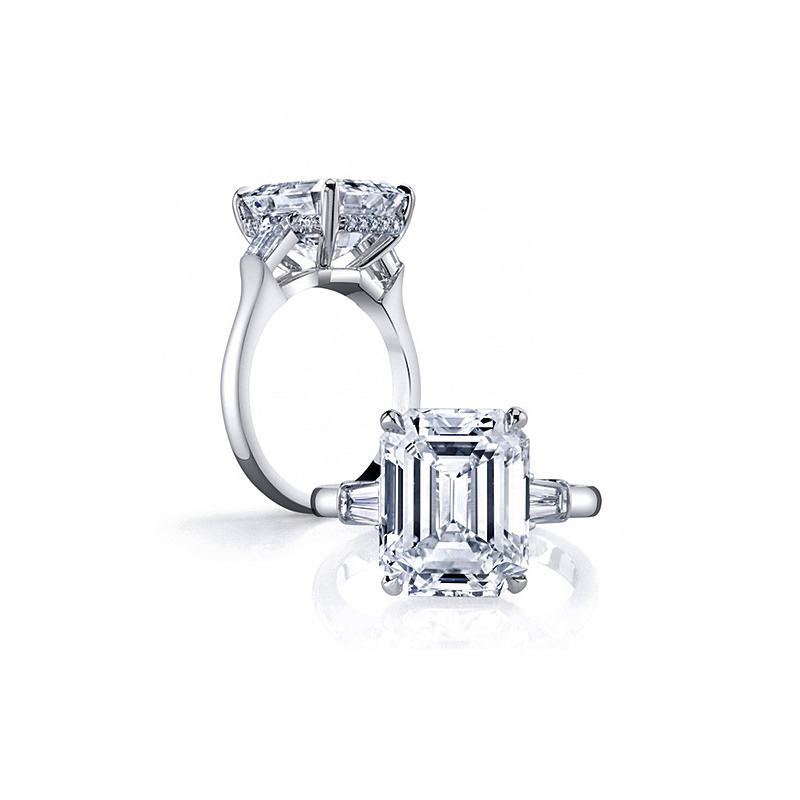 COLORFISH Solid 925 Silver Three Snubní Prsteny Emerald Cut 4 Carat AAAAA Cubic Zirconia Sterling Silver Snubní Prsten