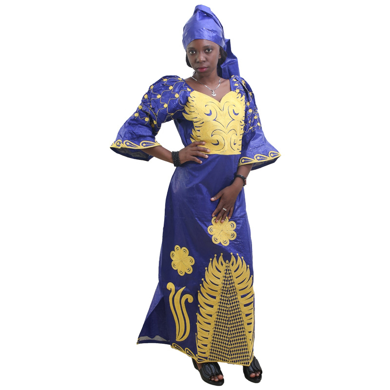 MD African Traditional Dress Women Bazin Riche Ankara Maxi Dresses Nigerian Wedding Embroidery Dashiki Dress With Headtie Turban