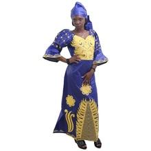 MD African Traditional Dress Women Bazin Riche Ankara Maxi Dresses Nigerian Wedding Embroidery Dashiki Dress With Headtie Turban