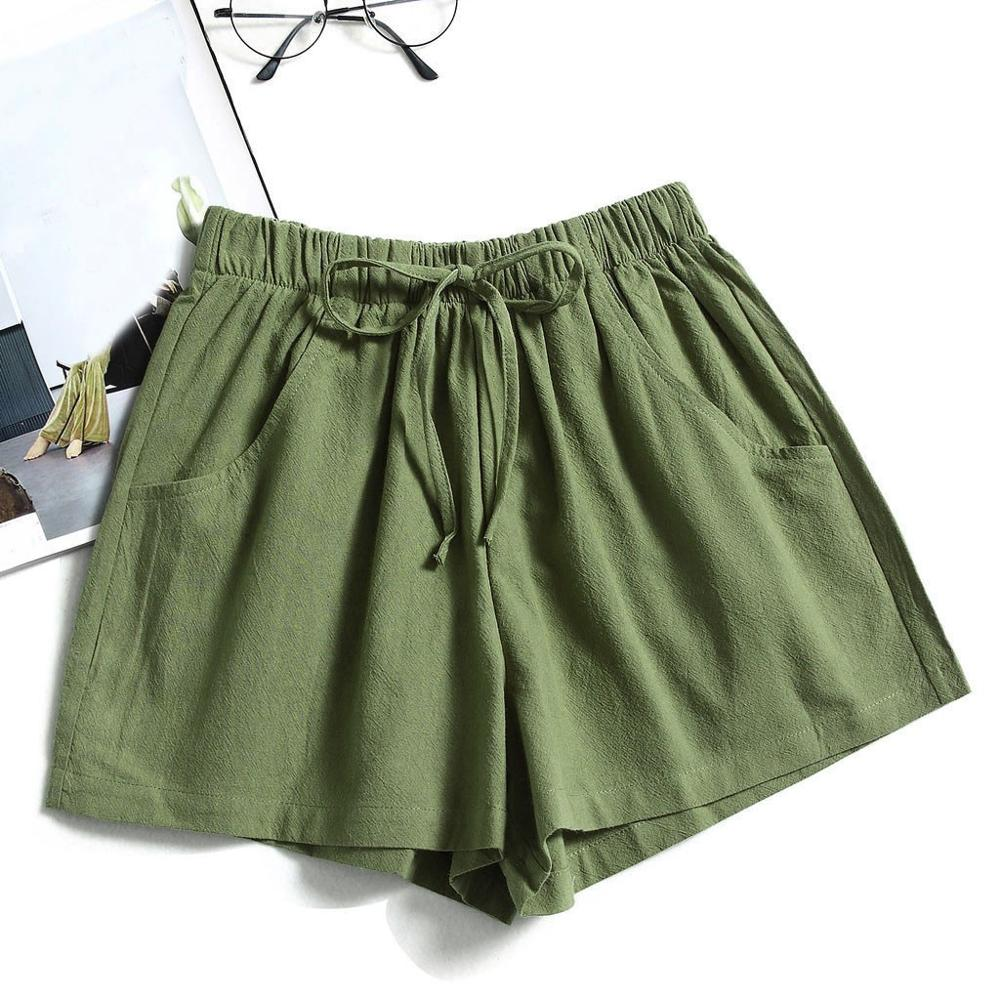 Drawstring Solid Color Short For Women Summer Casual Beach Shorts Elastic Waist Pocketed Loose Shorts #20