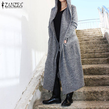 Winter Solid Hooded Cardigans ZANZEA Open Stich Trench Coats Women Casual Long Sleeve Maxi Jackets Female Outercoats 5XL