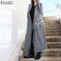 2020 Winter Solid Hooded Cardigans ZANZEA Spring Open Stich Coats Women Casual Long Sleeve Maxi Jackets Female Outercoats 5XL