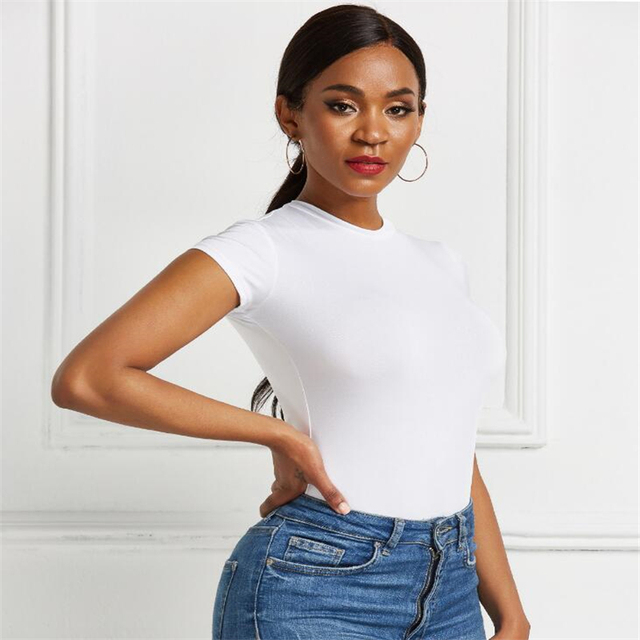Sexy One Piece Bodycon Bodysuit Short Sleeve O Neck Open Basic White Black Red Overalls Women Body Top Skinny Rompers Female 4
