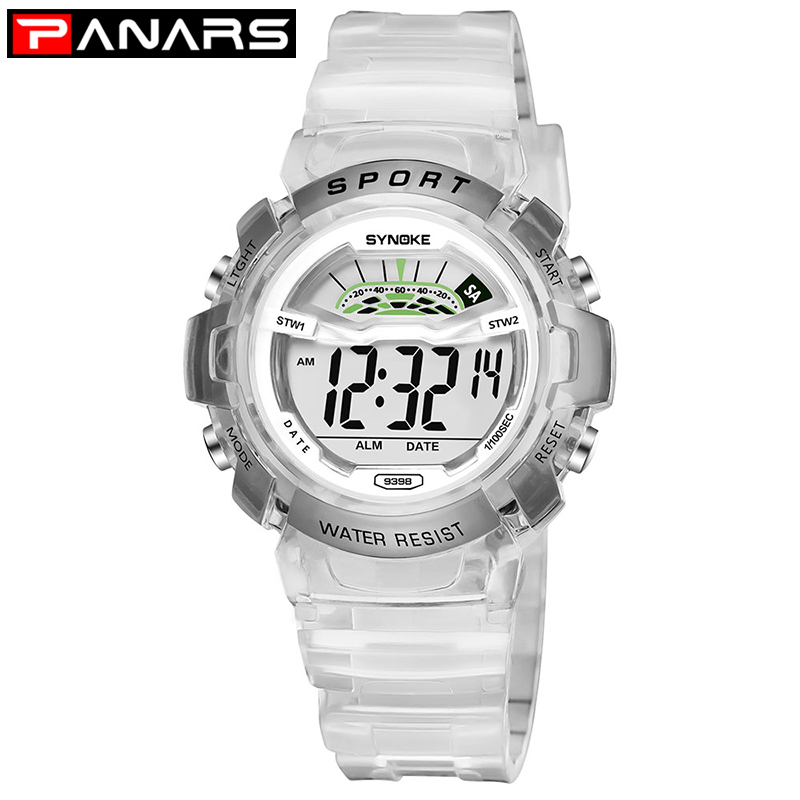 PANARS Sports Kids Digital Watches For Girls Boys Large Small Sizes Led Waterproof White Children Student Watch Boys Watches