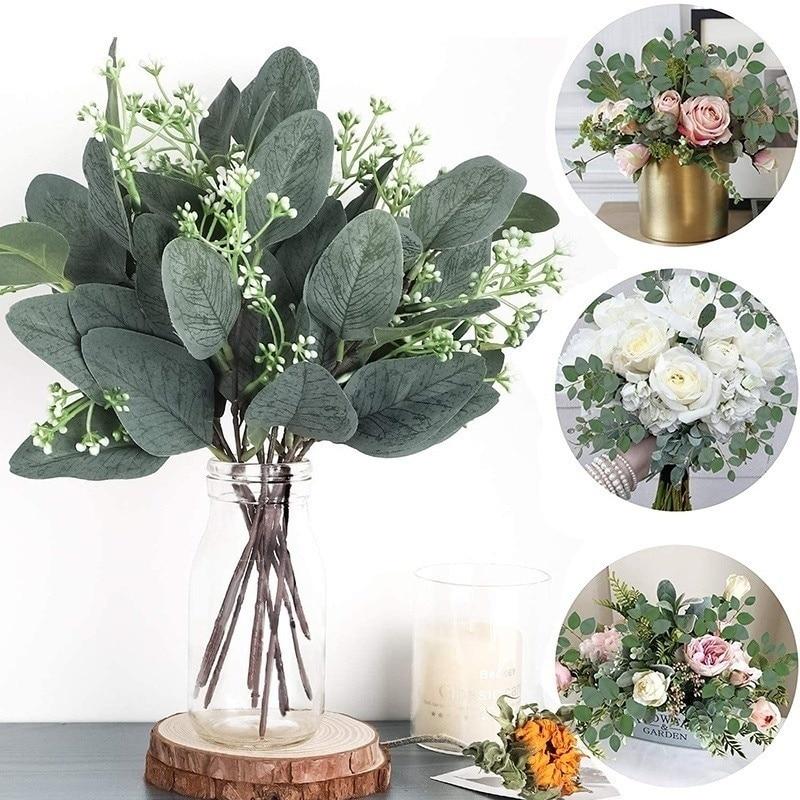 Yapay okaliptüs yaprakları kaynaklanıyor Eucalipto dalları yapay bitkiler çiçek buketleri düğün tatil yeşillik dekor