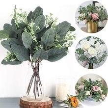 Eucalipto artificial folhas hastes ramos eucalipto plantas artificiais para buquês florais decoração do feriado do casamento vegetação