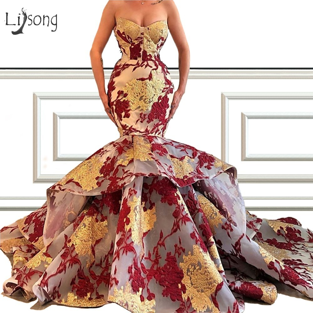 Gorgeous Appliques Colorful Flower Mermaid Evening Dresses 2019 Ruffles Puffy Lace Prom Gowns Vestido De Festa Longo
