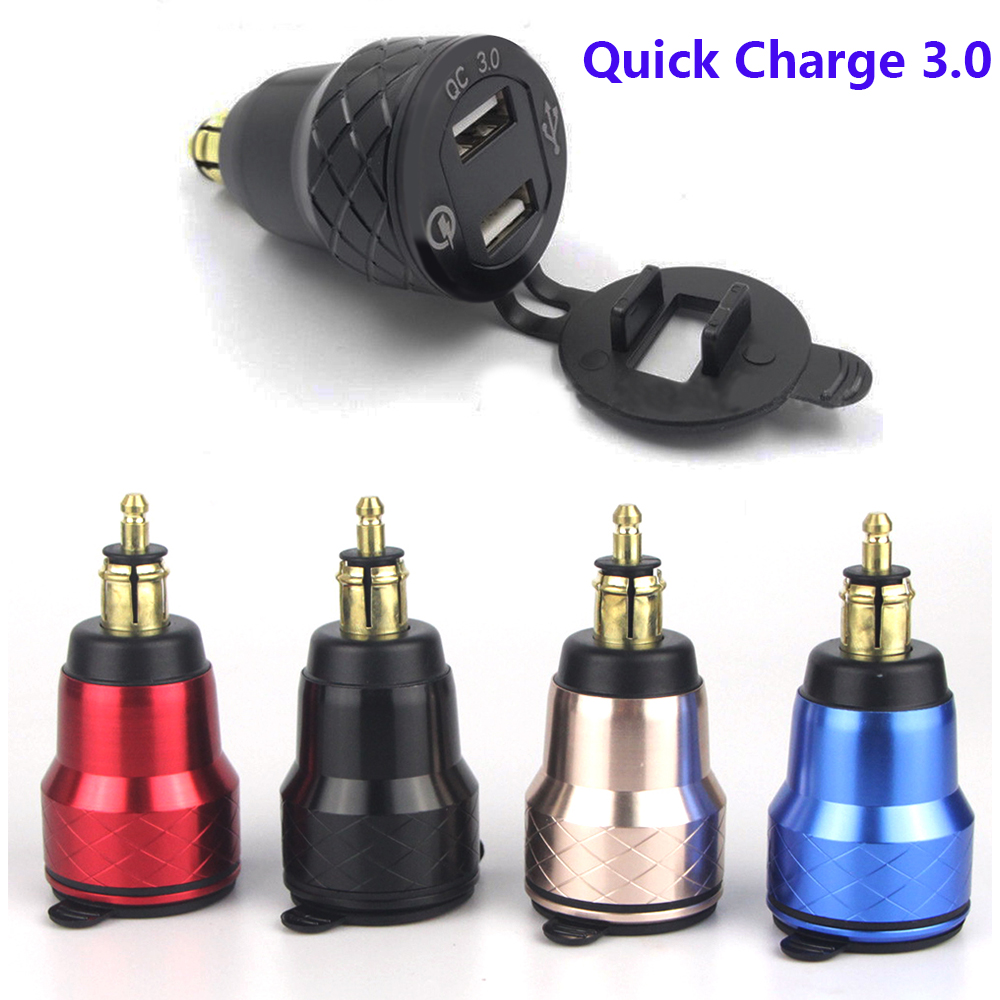 Motorcycle Quick Charge 3.0 Dual USB Charger Plug Socket Cigarette Lighter Adapter LED Display For <font><b>BMW</b></font> R1250GS R1200GS F800GS image