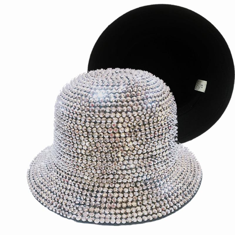Women Wool Full Diamond Bucket Hat Men Women Fedora Fisherman Hat Spring Winter ladies felt Jazz hat Panama hat wholesale