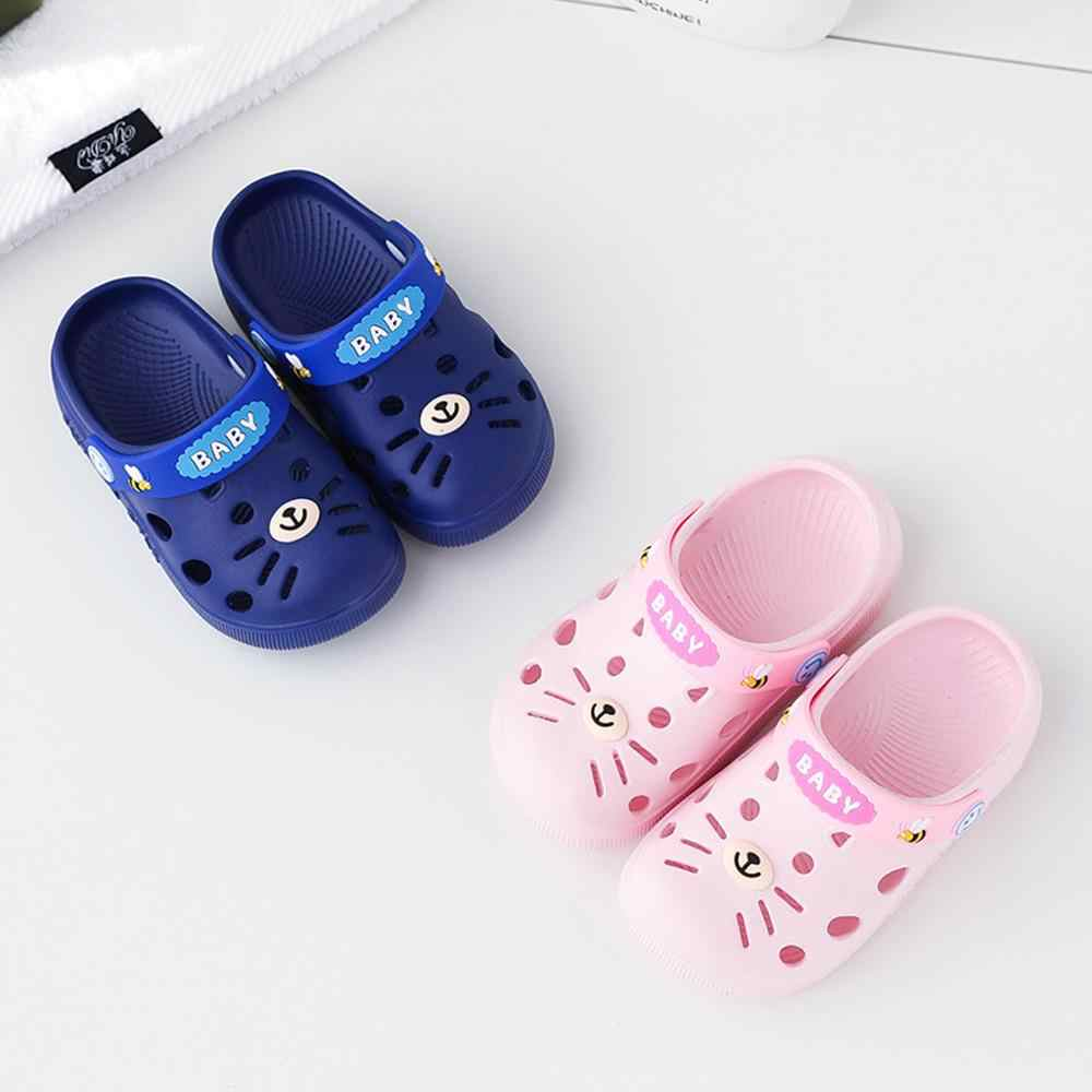 Slippers Kids Toddler Infant Baby Girl Boys Home Slippers Rubber Cartoon Animation Cat Flat Heels Shoes Sandals Kids Slippers 40