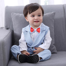 Fashion Baby Boys Clothes Bowtie Gentleman Vest T-Shirt Pants Wedding Suit Cloth Sets Outfit Suit Infant Clothing For Baby Sets(China)