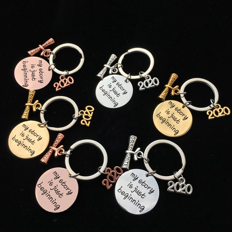 Multicolor Graduation Gift Keychain Engraved MY STORY IS JUST BEGINNING Class Of 2020 Stainsteel Steel Jewelry Friends Gift
