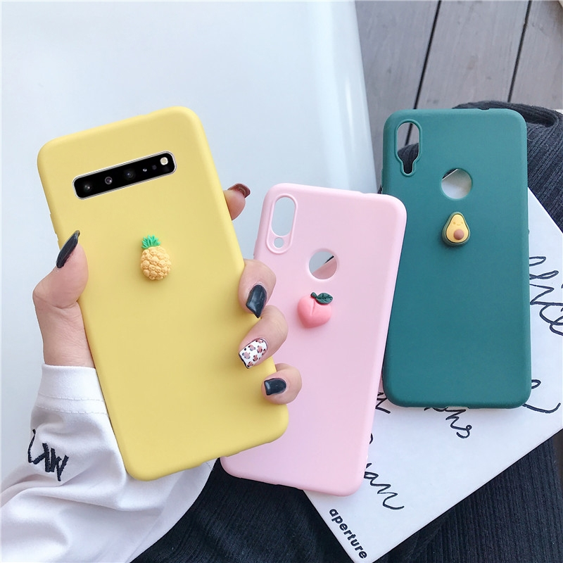 3D Cute Fruit Silicone Case On For Samsung Galaxy S20 Ultra Plus S10 5G S10E S9 S8 Plus S7 S6 Edge Soft Tpu Back Cover Fundas