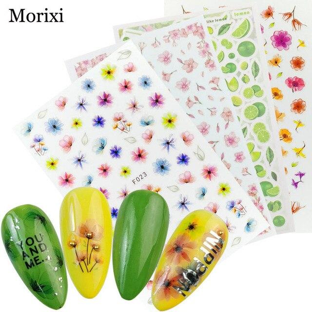 Фото morixi nail art sticker big size back glue adhesive for manicure