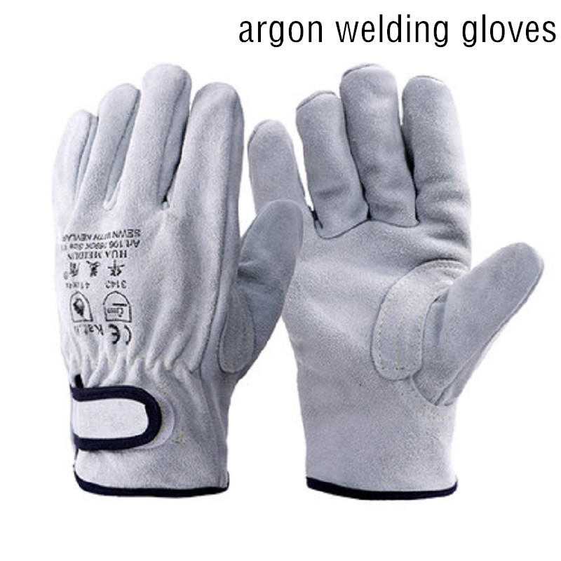 Argon Welding Protective Gloves A Cowhide Thicken Leather Heat-insulated Anti-piercing Wear-resistant Welder Safety Equipment