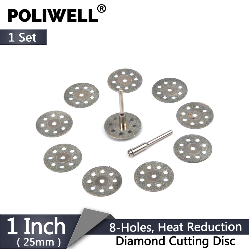 Diamond Blades Set 10pcs 22/25mm 8-Holes Circular Saw Blade Disk With 2pcs 3mm Rod Diamond Cutting Wheel For Dremel Rotary Tool