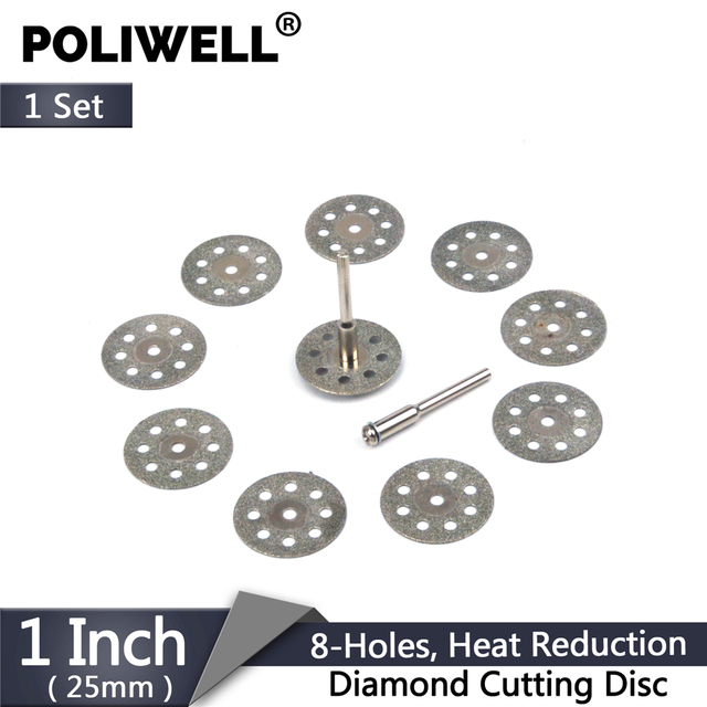Diamond Blades Set 10pcs 22/25mm 8 Holes Circular Saw Blade Disk with 2pcs 3mm Rod Diamond Cutting Wheel for Dremel Rotary Tool