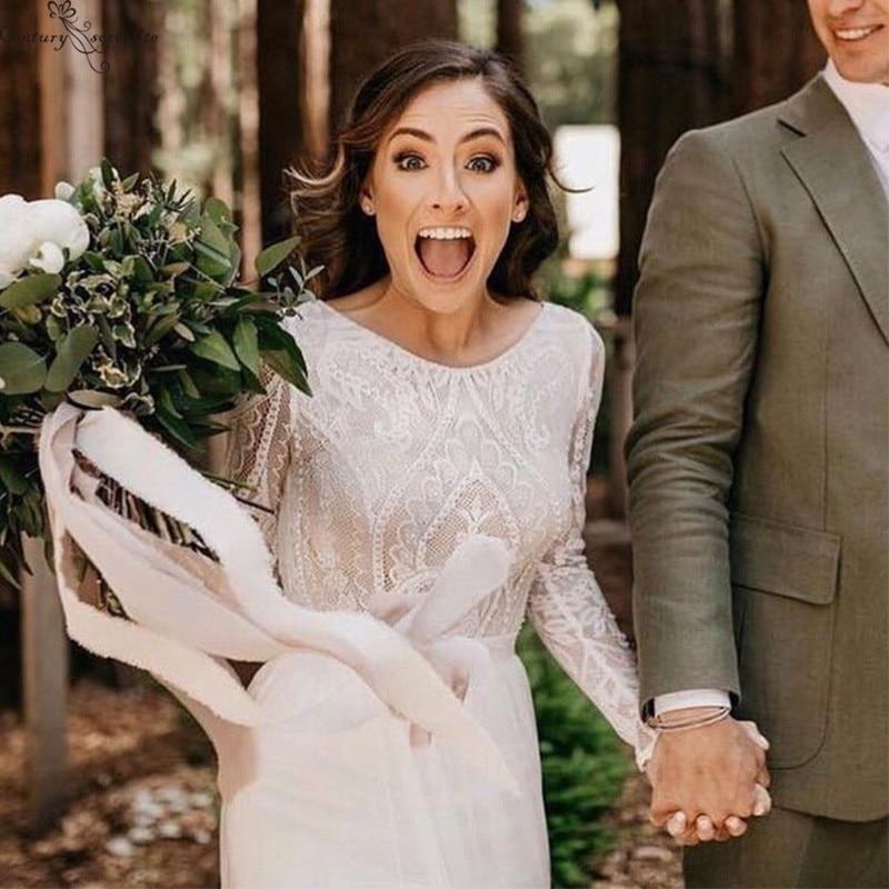Boho Wedding Dresse 2020 Long Sleeves Backless Chiffon Lace Bridal Gowns Bride Dress Bohemian Vestido De Noiva Robe De Mariee