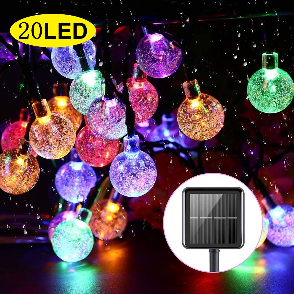 Solar String Lights Garden 20LED Outdoor String Lights Waterproof Crystal Ball Fairy Lights For Home Yard Party Christmas Decor