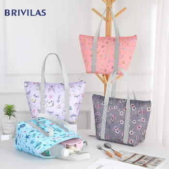 Brivilas print lunch bag women high quality portable cooler bags hand waterproof Picnic travel breakfast food box pack kids new - discount item  29% OFF Special Purpose Bags