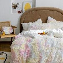 Couvertures à cheveux longs 150x200cm RU, literie familiale, Queen, couverture polaire chaude grise, housse de couette + taie d'oreiller, 3 pièces, nouveau