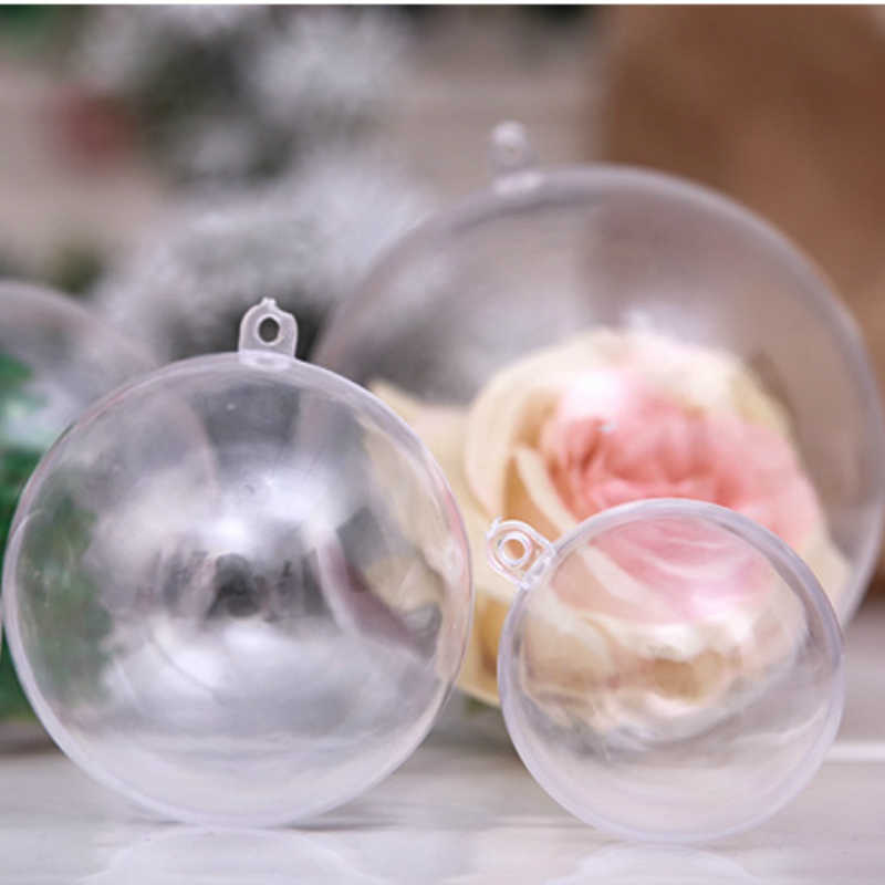 4Cm ~ 10Cm Acryl Transparante Holle Ornament Bal Opknoping Bal Voor Kerstboom Hanger Decoraties Xmas Huis Decor bal