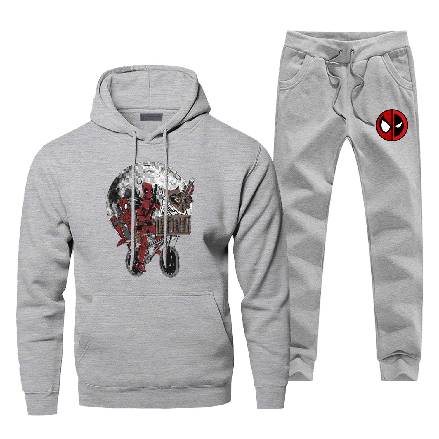 Deadpool Funny Sportsman Wear Fashion Super Hero Spider-Man Men's Sets Casual Fitness Pants Sweatshirts Hip Hop Mens Sports Suit