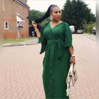 2019 neue sommer elegent mode stil afrikanische frauen v-ausschnitt plus größe lange kleid