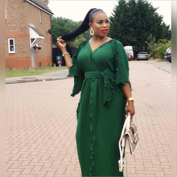 Vestido largo de talla grande con cuello en V para mujeres africanas estilo elegante de verano 2019